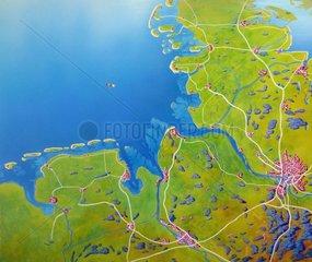 Reliefkarte Deutschland Nordseekueste