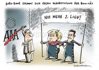 S&P drohen Euro-Zone mit Herabstufung der Bonitaet Merkel wiegelt ab