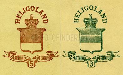 britische Gebuehrenmarke der Post  Helgoland  1880