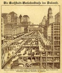 Zukunftsvision  Verkehr in der Grossstadt  1915