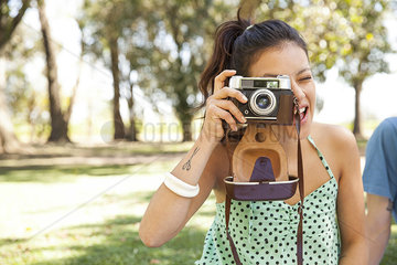 Woman taking picture  personal perspective