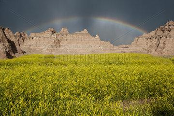 Rainbow over buttes in Badlands National Park  South Dakota  USA