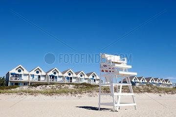 Lifeguard chair on beach  Montauk  East Hampton  New York State  USA