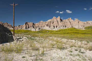 Power lines in Badlands National Park  South Dakota  USA