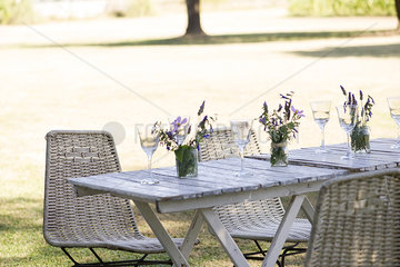Picnic table in park set for picnic