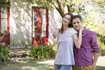 Couple together outside home