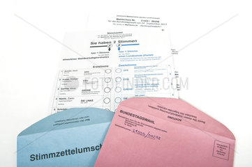 Briefwahl-Stimmzettel zur Bundestagswahl 2017