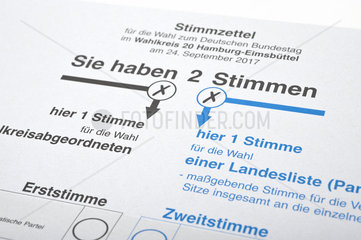 Stimmzettel zur Bundestagswahl 2017