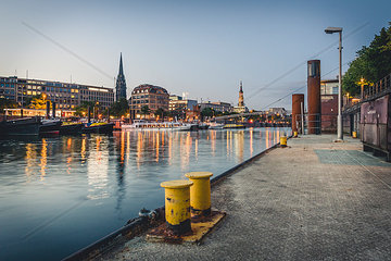 Germany  Hamburg  inland harbour and cityscape at blue hour
