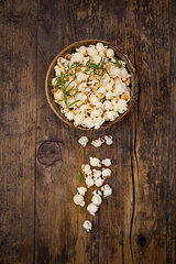 Homemade popcorn with rosemary and parmesan