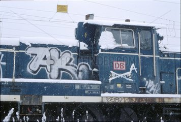 Lokomotiven abgestellt am Bahnhof