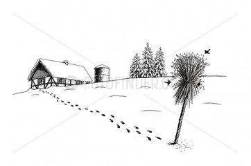 Bauernhof eingeschneit Winter