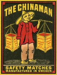 schwedische Streichhoelzer  Marke The Chinaman  1913