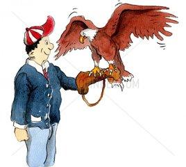 Falkner mit Raubvogel am Arm