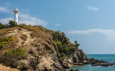 The light house of the Thai island of Koh Lanta high up on a rock in the Mu Koh Lanta National Park.