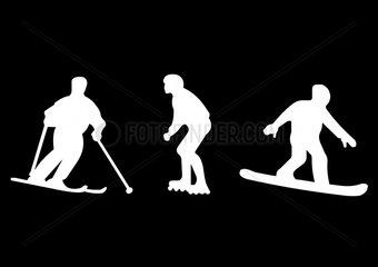 skiing skating boarding
