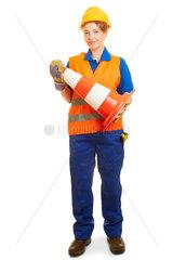 Frau im Strassenbau in Arbeitskleidung mit Pyon