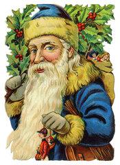 Weihnachtsmann  Mistelzweig  Poesiebild  USA  1910