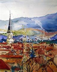 Kran mit Stadt im Hintergrund