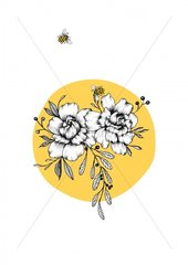 Sunny Flowers and Bees for print