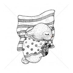 Sleeping bunny holding pillow tight