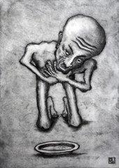 Mensch beim Verhungern