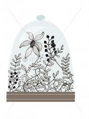 inked flowers in glass dome