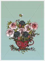 Fall Flowers Teacup with Bee