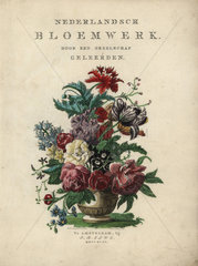 Title bouquet of flowers from Nederlandsch Bloemwerk (Dutch Flower Arrangements)  Amsterdam  J.B. Elwe  1794