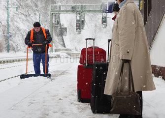 Winterdienst auf dem Bahnhof