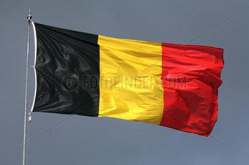 Iffezheim  Deutschland  Nationalfahne von Belgien weht im Wind