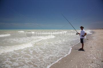 Eighty Mile Beach  Australien  Angler am Strand
