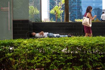 Republik Singapur  Mann schlaeft hinter einer Hecke