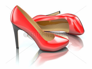 Red high heels shoe on white background. 3d