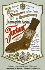 Erfindung  Socken gegen Fussschweiss impraegniert  Werbung  1897