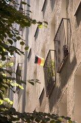 2010  berlin neukoelln  deutschland  deutschlandflagge an hauswand