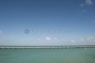 The Seven Mile Bridge crosses the ocean in the Florida Keys  Florida  USA