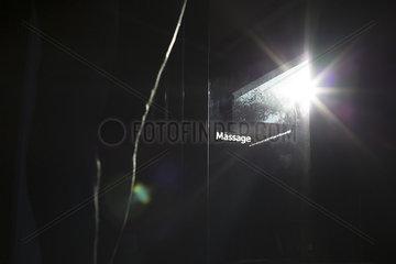 Sunlight shining through glass door in health spa