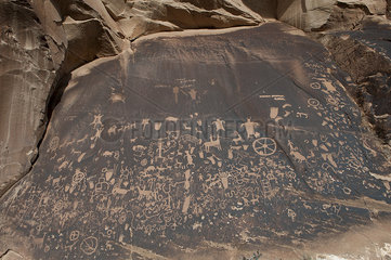 Petroglyphs at Newspaper Rock State Historic Monument  Utah  USA