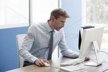 Office worker focused on work