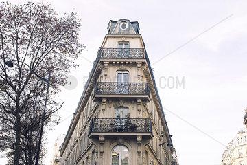 Balconies lining apartment building facade
