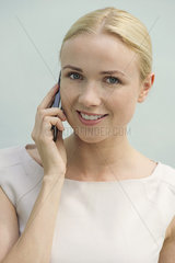 Woman talking on cell phone  portrait