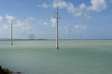 Power lines in the sea