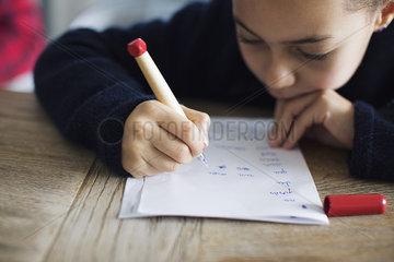 Girl doing homework  close-up