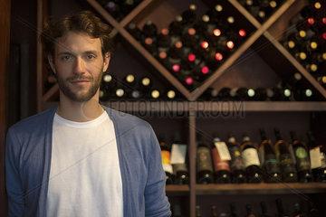 Sommelier in wine cellar  portrait