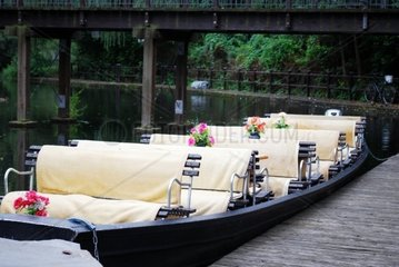 typical spreewald boat for trips on the canals in lubbenau  germany
