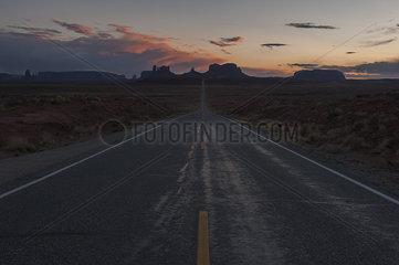 U.S. Route 163 through Monument Valley in Utah  USA