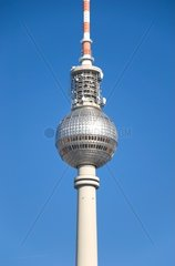 television tower in berlin germany with blue sky
