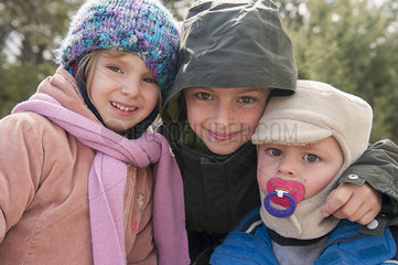 Young siblings dressed in winter clothing  portrait