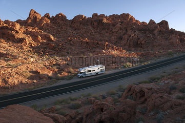 Motor home parked along road in Valley of Fire State Park  Nevada  USA